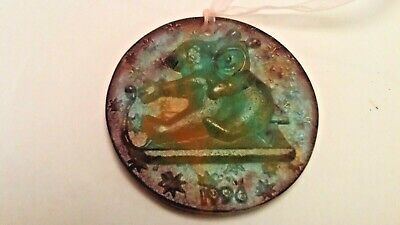 Daum Pate De Verre Two Infants On Sled Signed 1996 Christmas Ornament • 60£