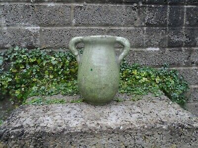 Unusual Thick Crackle Green Glaze Vase - Chinese Asian? Interest - Antique Potte • 45£