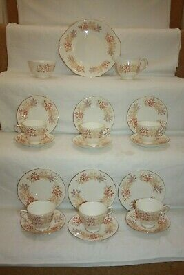 Pretty  Royal Vale China Tea Set Pattern 8678 Brown Branches & Leaves 13 • 27£