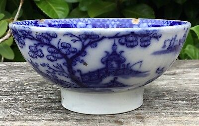 Antique C. 1840 Staffordshire Pearlware Blue & White Chinese Pagoda Bowl   • 24.99£