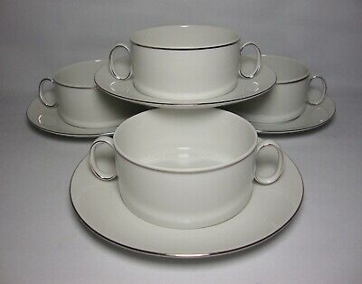 4 X THOMAS THIN PLATINUM BAND HANDLED CUPS & STANDS IN EXCELLENT CONDITION • 29.50£
