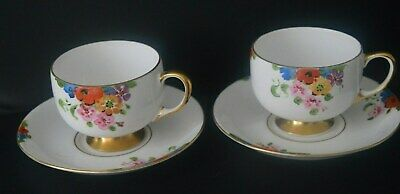 Carlton Ware Sunshine Pattern 4693 Two Cups And Saucers Excellent Condition • 19£