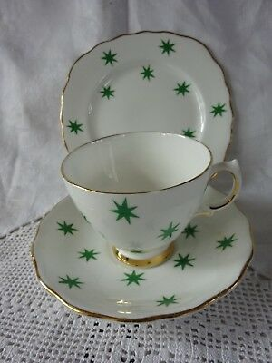 Royal Vale Green Stars Cup Saucer And Side Plate Trio • 6.99£