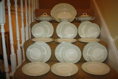 Lovely Vintage Grindley Dinner Service Cream Green Silver C1930's 24 Pieces  35 • 45£