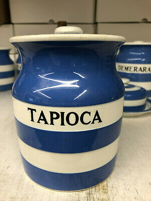 TG Green Cornishware 1930s TAPIOCA Jar Black Shield 14cm • 33£