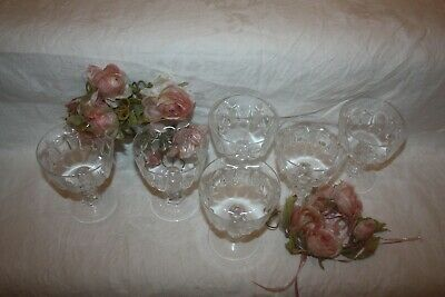 Set Of 6 Vintage Cut Crystal Champagne Glasses Pineapple Design 42 • 20£