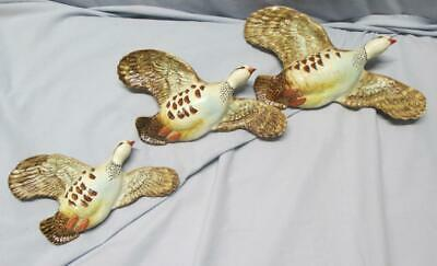 BESWICK  Set Of 3  Pink Legged Flying PARTRIDGES Wall Plaques  1188 - 1, 2, 3 • 142.32£
