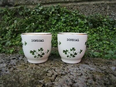 Scarce Pair Of Carrigaline Irish Pottery Egg Cups With Donegal Interest • 14.99£
