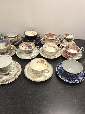 Stunning Antique Vintage 23 Cups Saucers, Some With Plates Job Lot • 60£