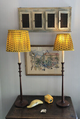 Pair Of Provence Yellow Fabric Oval Lampshades, Different Sizes • 75£