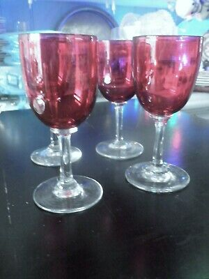 4  Vintage Cranberry Glass Long Stemmed Drinking Glasses (5inch) Lovely Conditn • 20£