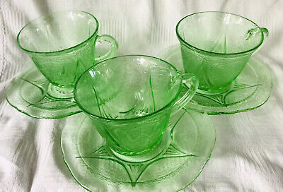 Hazel Atlas Green Royal Lace Depression Glass - 3 Cups And Saucers • 18£