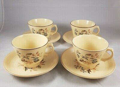 Woods Ware Jasmine Floral 1940s Cups And Saucers ×4 • 8£