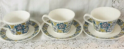 Royal Tuscan Nocturne Set Of 3 Cups And Saucers • 14.99£