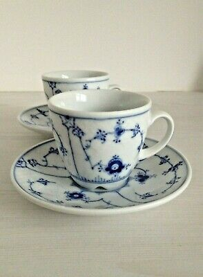 Pair (2) Bing And Grondahl / B&G Blue Plain Coffee Cups And Saucers  • 22.95£