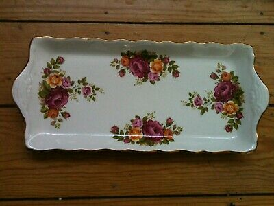 Vintage Old Foley James Kent  Sandwich Tray - Roses - Lip Handles, Exc.condition • 5.50£