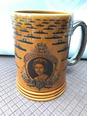 Lord Nelson Pottery Handcrafted Tankard Queen Elizabeth II Fleet Review Spithead • 11£