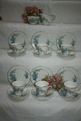 Vintage Queen Anne Tea Set  Forget Me Nots  20 Pieces Immaculate 15 • 30£