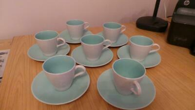 QB270: Vintage Poole Pottery  Twintone  Ice Green Cups & Saucers X 7 • 12£