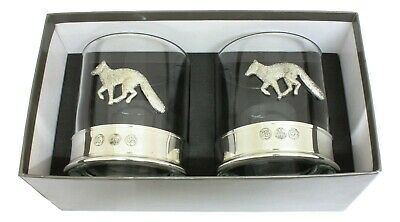 Fox Design Pair Crystal Tumblers With Pewter Base In Presentation Box  • 39.99£