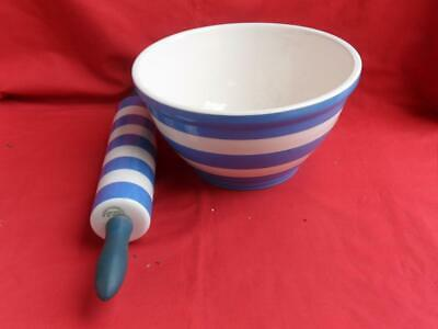 T.G. Green - Blue Cornishware - Mixing Bowl & Rolling Pin • 95£