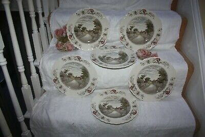 Lovely Set Of 6 Crown Ducal Charming England Plates  Tewksbury  26.5 Cms  • 35£