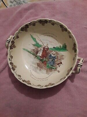 Antique The Foley Faience Bowl 1890s Punch Bowl Friar Tuck • 49.99£