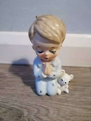 Vintage Porcelain Praying Boy In Pj's With Teddy Figurine -  Homco Style • 5.50£