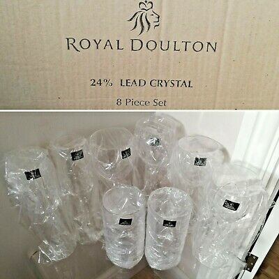 Royal Doulton 24% Lead Crystal, Daily Mail 8 Piece Set Glasses, New • 29.99£