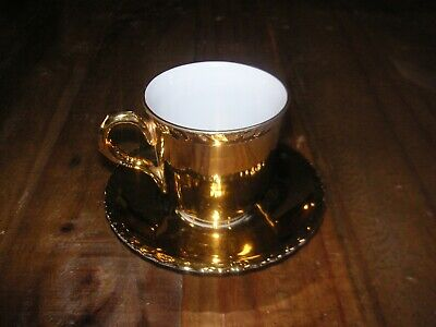 Royal Worcester  Pie Crust  Gold Lustre Cup And Saucer • 8.99£