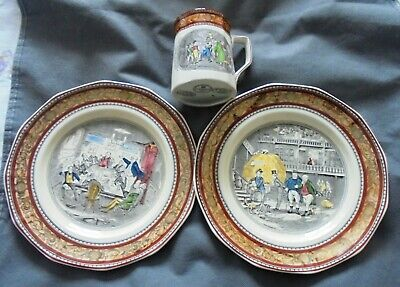Vintage Adams  English Ironstone Charles Dickens Tankard And 2 Plates  • 25£