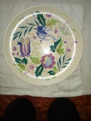 Large Poole Pottery Charger With A Floral And Bluebird Design • 25£