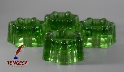 Set Of Four Antique Victorian Green Glass Table Salts  • 20£