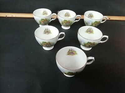 6 Royal Vale Bone China Old Country Cottage Tea Cups Only Pat No. 7382 • 4.50£