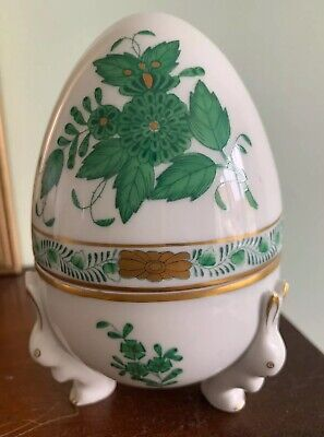 Large Herend Egg Trinket Box With Rabbit Feet • 55£