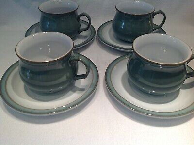 Denby Regency Green Cups And Saucers X 4 • 8.99£