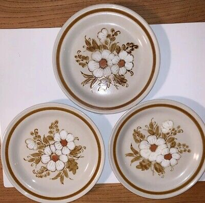 3 Mountain Wood Collection Stoneware Dried Flowers Side Plates Japan Vintage • 12£