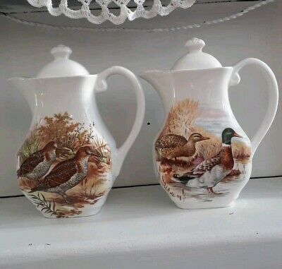 Hand Painted Vintage Coffee Pot Set With Birds / Wildlife Scenery • 38£