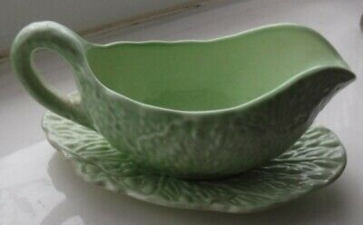 Vintage Carlton Ware Small Green Leaf Pattern Sauce/gravy Boat And Saucer  • 5.99£