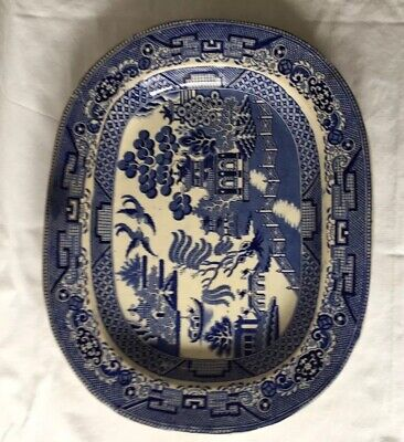 Blue And White Willow Pattern Meat Plate.  • 15£