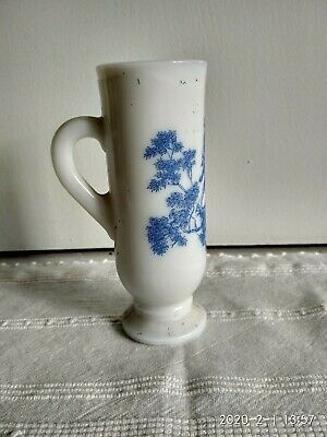 Vintage Blue Fluted Ceramic Candle Holder With Handle • 14£