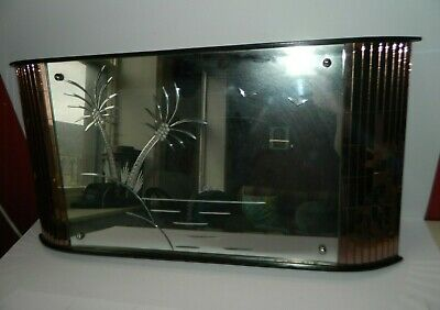 Vintage Etched Mirror With Palm Trees & Rose Glass Tiles Tiki Bar Kitsch • 85£
