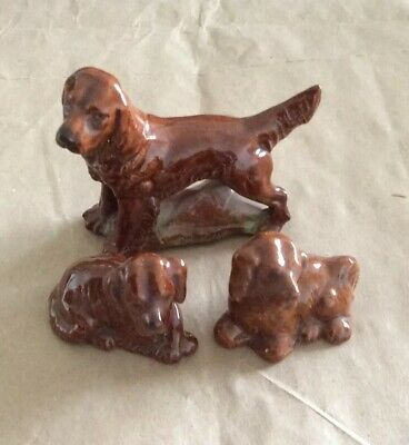 3x Vintage Wade Whimsies,Red Setter Dog & 2 Red Setter Pups • 1.99£