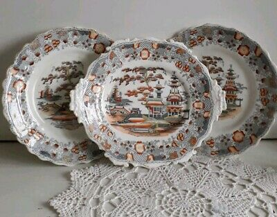 Set Of 3 Vintage Oriental Plates With Elaborate Scalloped Edge & Landscape Scene • 50£
