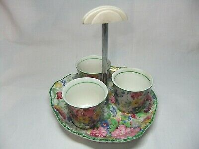 Collectible Midwinter Brama Floral Chintz Triple Egg Cup Set With Matching Stand • 4.99£