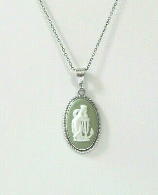 Wedgwood Pendant Necklace Silver Hope Anchor Green Jasper Vintage Boxed  • 49.99£