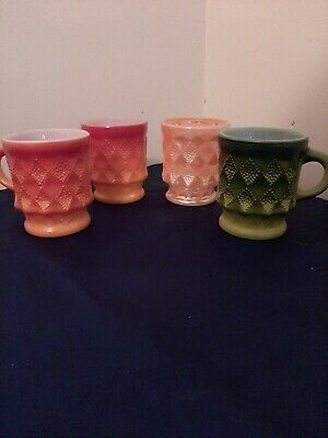 Anchor Hocking Fire King Gorgeous USA Made Vintage Retro Cups Mugs X4 Glass • 15£