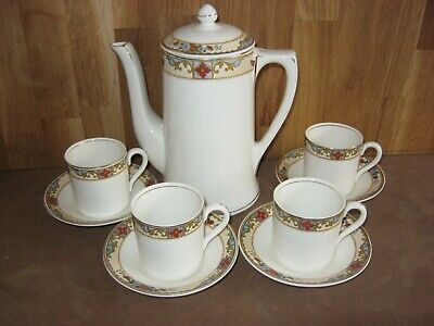 Grindley Ivory Coffee Pot + 4 Cups & Saucers • 9.99£