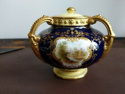 Fine Early 20c Coalport Porcelain Covered Vase Hand Painted Castle By E O Ball • 25£