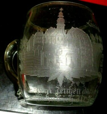 Antique Engraved German Spa Water Glass Dated 1782 • 39.99£